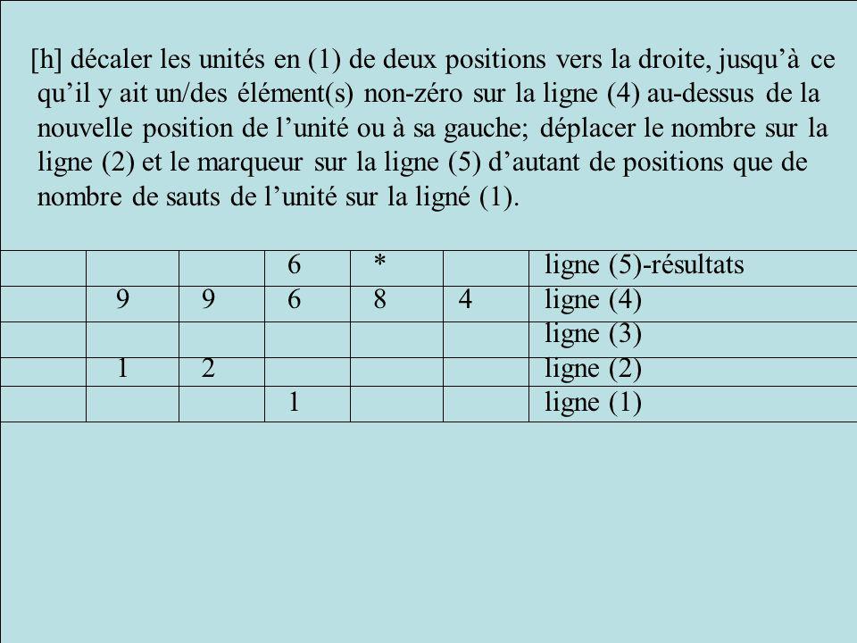 [h] décaler les unités en (1) de deux positions vers la droite, jusqu'à ce